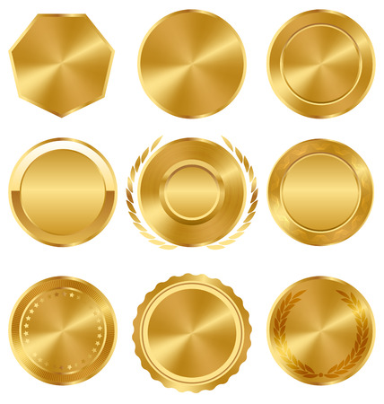 Golden Premium Quality Best Labels Medals Collection on White Background