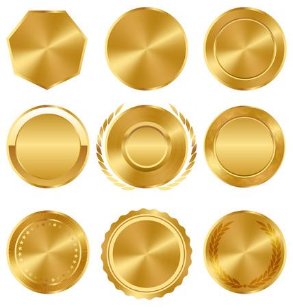 sellos: Oro Calidad Premium mejores etiquetas Medallas colección en el fondo blanco