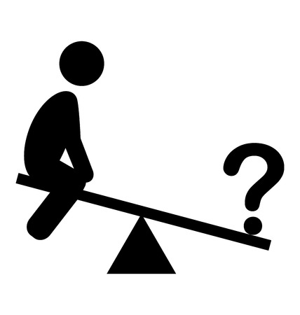 puzzlement: Confusion Man on Swing People with Question Mark Flat Icons Pictogram Isolated on White Background