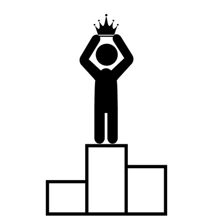 winner man: Winner People Man First Place with Crown Flat Icons Pictogram Isolated on White Background Stock Photo