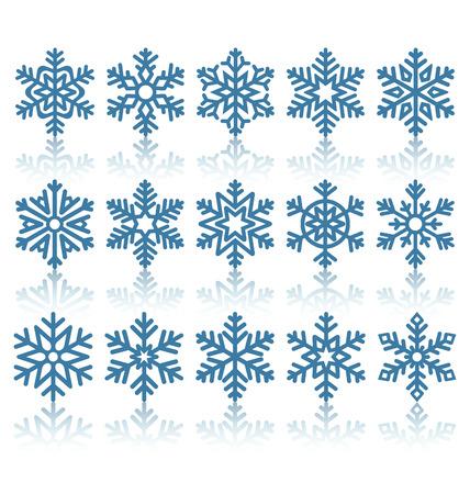 clima: Los copos de nieve negro mate iconos con la reflexi�n aislada en el fondo blanco