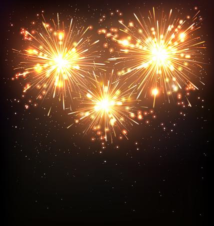 Festiva de fuegos artificiales Salute Burst en Fondo Negro Foto de archivo - 47163492