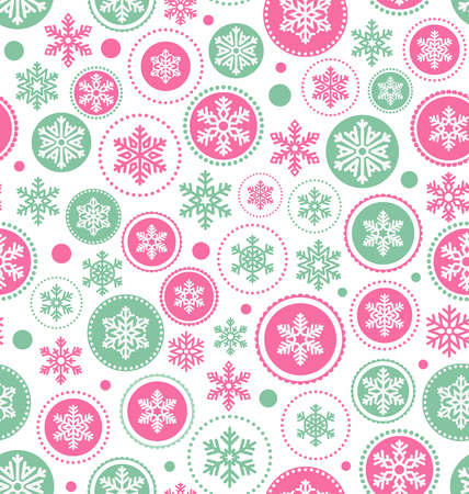 Seamless Abstract Christmas Pattern with Snowflakes Isolated on White Background Illustration