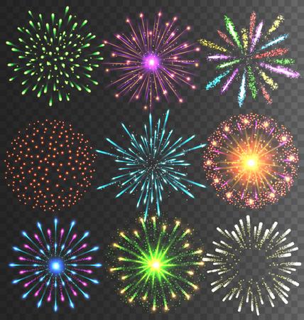 透明な背景にお祝いのカラフルな明るい花火敬礼でバースト