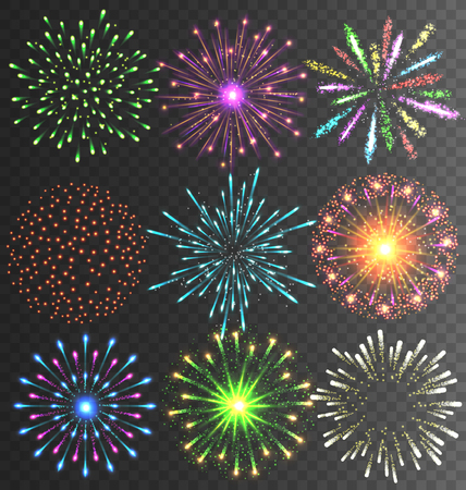 colourful fire: Festive Colorful Bright Firework Salute Burst on Transparent Background