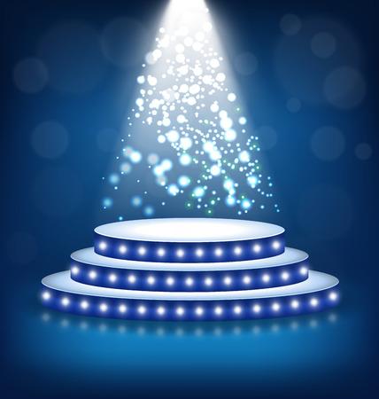 laureate: Illuminated Festive Stage Podium with Lamps on Blue Background Illustration