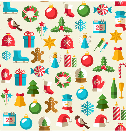 Seamless Winter Pattern with Christmas Flat Icons Isolated on Beige Background