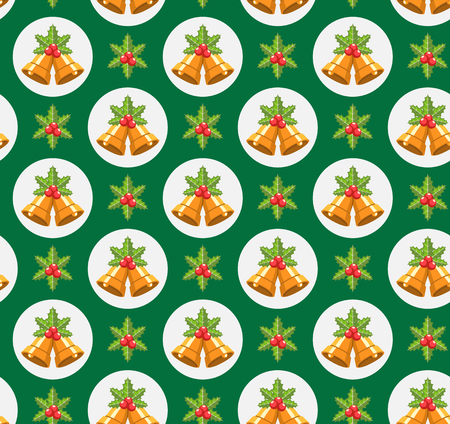 jingle bells: Seamless Traditional Christmas Pattern with Holly Sprigs and Jingle Bells Isolated on Green Background