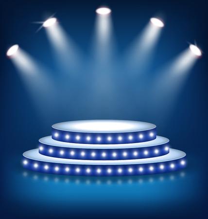 Illuminated Festive Stage Podium with Lamps on Blue Background Stock Illustratie