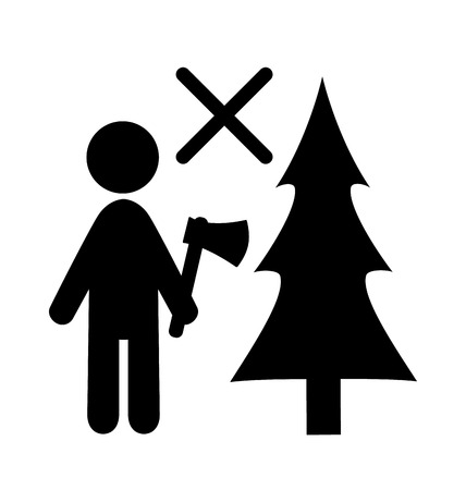 pictogram attention: Winter Attention Do Not Chop Christmas Tree Flat Black Pictogram Icon Isolated on White Background Illustration