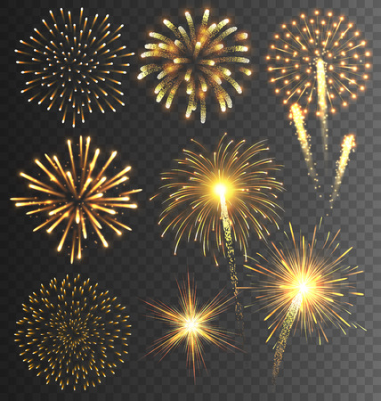Festiva de oro artificiales Salute Burst en el fondo transparente Foto de archivo - 47163698