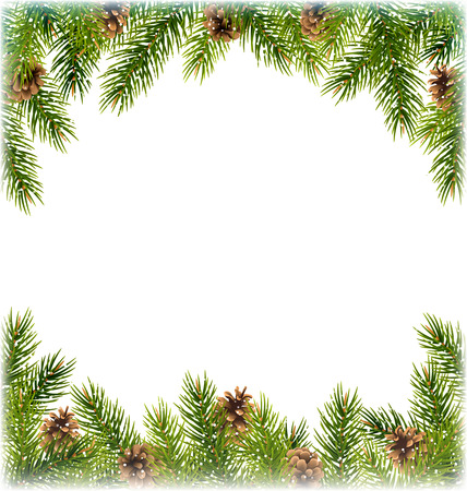 pine decoration: Green Christmas Tree Pine Branches with Pinecones Like Frame with Snowfall on White Background Illustration