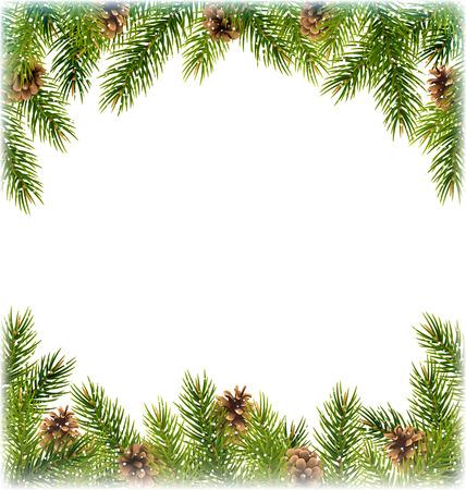 abetos: Ramas de árbol de pino verde de la Navidad con el marco Pinecones Al igual que con las nevadas en el fondo blanco Vectores