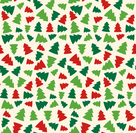 Seamless Christmas Pattern with Evergreen Trees Isolated on Beige Background