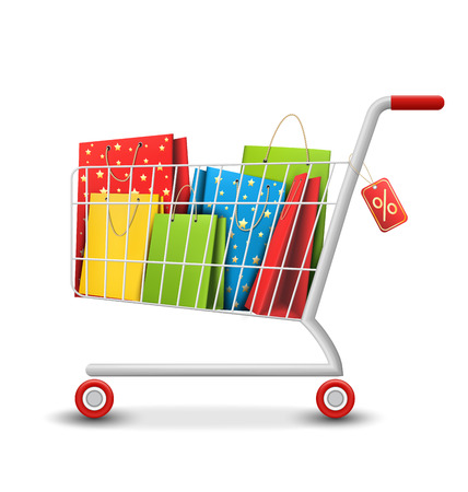 Sale Colorful Shopping Cart with Bags Isolated on White Background Ilustração