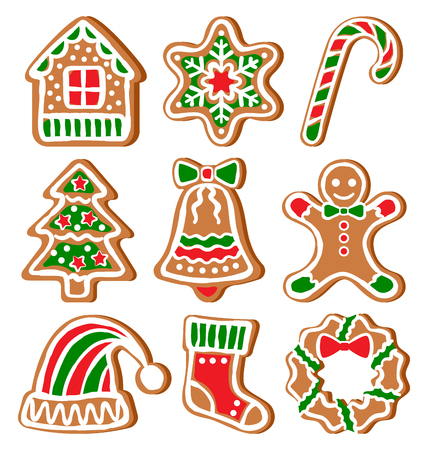 candycane: Set of Gingerbread Christmas Cookies Isolated on White Background