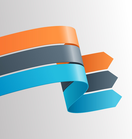 grayscale background: Three Infographic Elements Ribbons Arrows on Grayscale Background