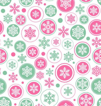 Motif continu Résumé de Noël avec des flocons de neige isolé sur fond blanc Banque d'images