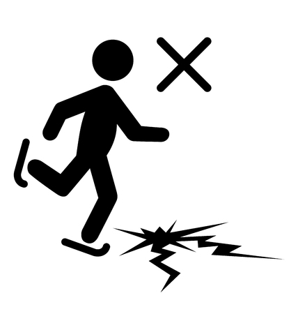 skating on thin ice: Winter Caution Danger Information Man with Skates on Thin Ice Flat Black Pictogram Icon Isolated on White Background Stock Photo