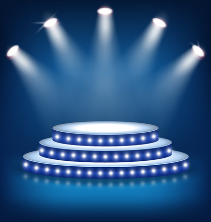 exhibition: Illuminated Festive Stage Podium with Lamps on Blue Background Stock Photo