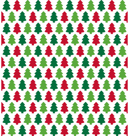 evergreen: Seamless Christmas Pattern with Evergreen Trees Isolated on White Background