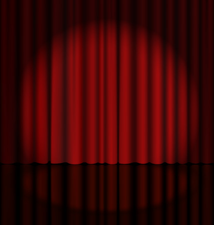 red stage curtain: Red Stage Curtain with Light Spot