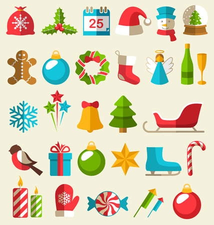 event icon: Set of Christmas Flat Icons Isolated on Beige Background
