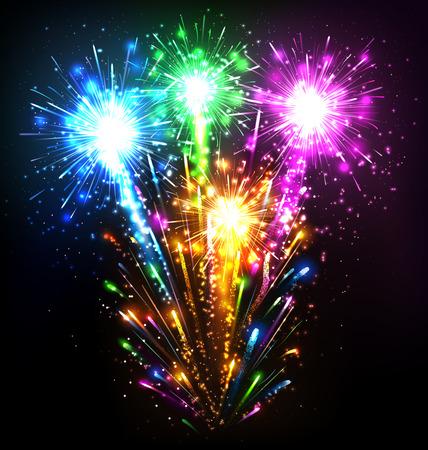 christmas in july: Festive Firework Salute Burst on Black Background