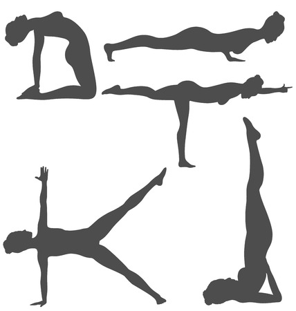 asanas: Woman in Yoga Poses Asanas Set Black Isolated on White Background