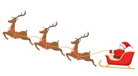 Santa na saních a jeho sobů izolovaných na bílém pozadí Ilustrace