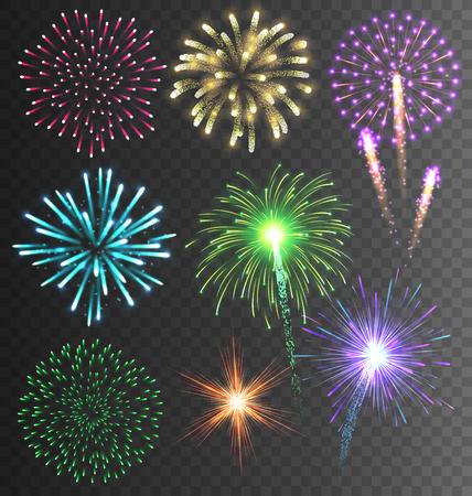 fireworks: Festivo colorido brillante de fuegos artificiales Salute Burst en el fondo transparente