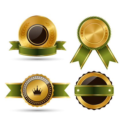 Golden Green Black Premium Quality Best Labels Collection Isolated on White Background Illustration
