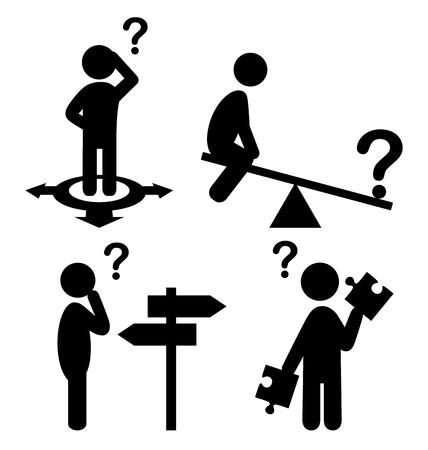 confundido: Confusión Las personas con signos de interrogación planas Iconos Pictograma aislados sobre fondo blanco