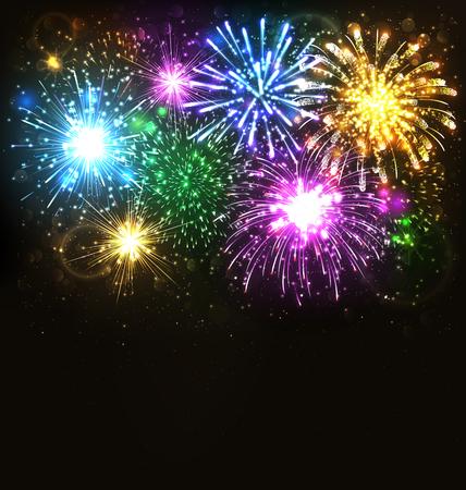 黒の背景に多色のお祝い花火敬礼でバースト