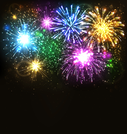 Multicolor Festive Firework Salute Burst on Black Background