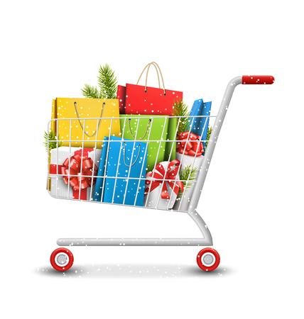 compras: Invierno Navidad Venta Carro de compras con bolsas de cajas de regalo y ramas de pino aisladas sobre fondo blanco Vectores