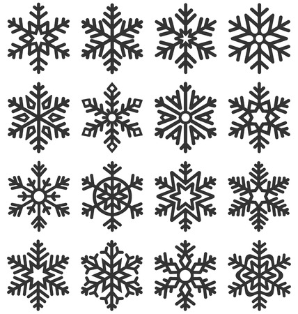 Black Flat Simple Traditional Classic Snowflakes Icons Isolated on White Background