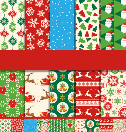 Set of 10 Seamless Bright Fun Christmas Patterns Stok Fotoğraf - 48734468