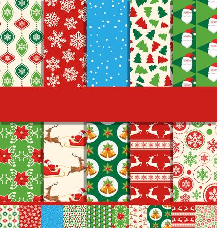 Set of 10 Seamless Bright Fun Christmas Patterns