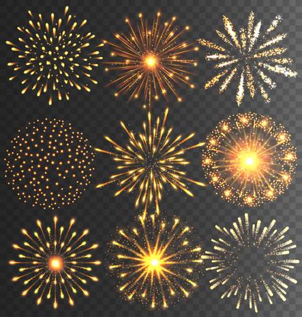 Golden Feestelijke Vuurwerk Salute Burst op zwarte achtergrond