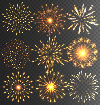 Golden Festive Firework Salute Burst on Black Background Imagens - 48734471