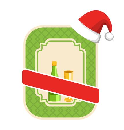 glas sekt: Weihnachten Winter und Neujahr Label-Icon mit Sekt und Glas isoliert auf wei�em Hintergrund