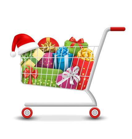 Christmas Sale Colorful Shopping Cart with Gift Boxes and Bags Isolated on White Background Stock Illustratie