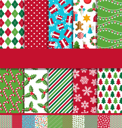 seamless background pattern: Set of 10 Seamless Bright Fun Christmas Patterns