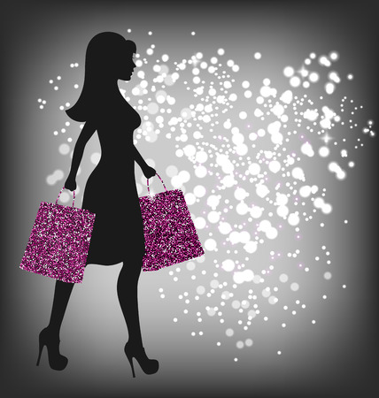 advantageous: Black Friday Sale Shopping Woman with Bags on Dark Background Illustration