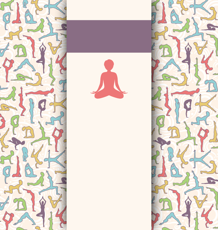 yoga to cure health: Yoga Lifestyle Card with Women in Asanas Poses on Beige Background