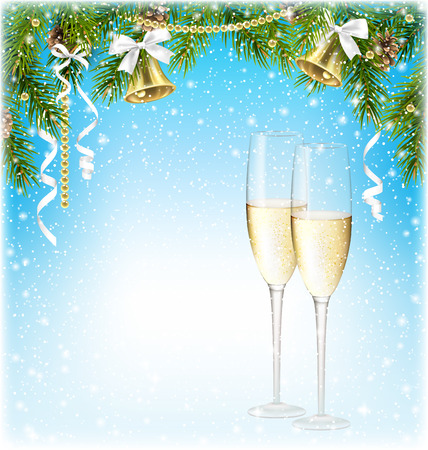 sparkling wine: Shiny Christmas Background with Sparkling Wine Champagne Jingle Bells and Pine Branches in Snowfall