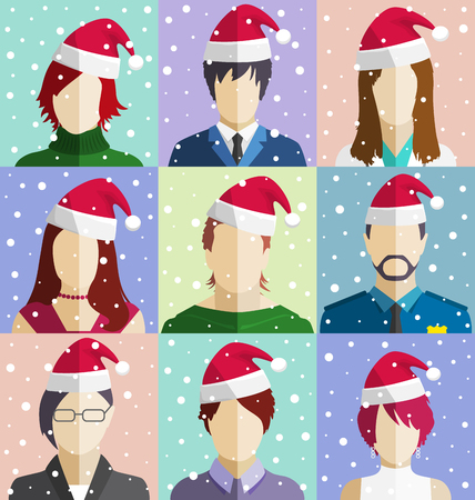 in common: Set of Christmas People Faces in Santa Hat in Snowfall Flat Icons