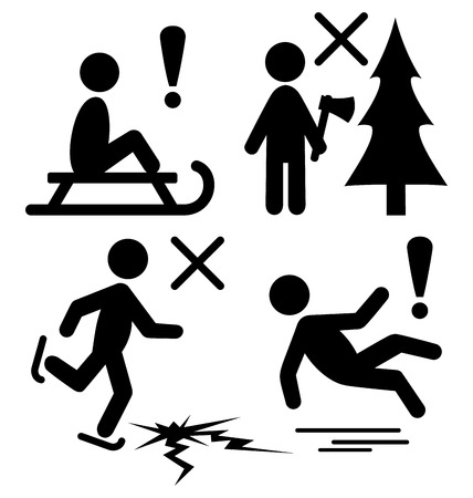 ice axe: Set of Winter Caution Danger Information Flat Black Pictograms People Icons Isolated on White Background