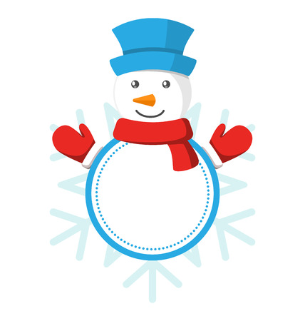 snowman isolated: Christmas Label Icon Flat with Snowman Isolated on White Background Illustration